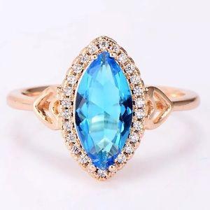 Jewelry - 18k gold aquamarine halo engagement wedding ring